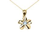 Yellow Gold Hawaiian Plumeria Blue Zircon Elegant Pendant Necklace