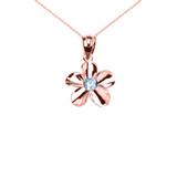 Rose Gold Hawaiian Plumeria Blue Zircon Elegant Pendant Necklace