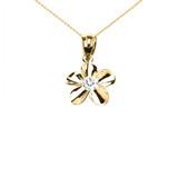 Yellow Gold Hawaiian Plumeria Cubic Zirconia Elegant Pendant Necklace