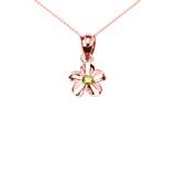 Delicate Rose Gold Hawaiian Plumeria Peridot Charm Pendant Necklace