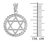 White Gold Jewish Star of David in Circle Rope Pendant Necklace
