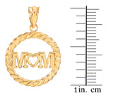 Gold MOM Heart in Circle Rope Pendant Necklace