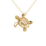Yellow Gold Hawaiian Lucky Charm Honu Turtle Hidden Bail Pendant Necklace