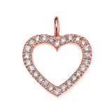 14K Rose Gold Open Heart  Diamond Dainty Pendant Necklace
