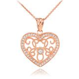 Rose Gold Filigree Heart Diamond and CZ Pendant Necklace