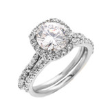 Beautiful Engagement Ring - Dainty 3 Carat Halo CZ Ring Set in White Gold