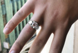 Men's White Gold 4 Carat Cubic Zirconia Bold Solitaire Ring