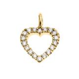 14k Yellow Gold Open Heart  Diamond Dainty Charm Pendant Necklace