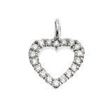 14k White Gold Open Heart  Diamond Dainty Charm Pendant Necklace