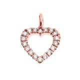 14K Rose Gold Open Heart  Diamond Dainty Charm Pendant Necklace