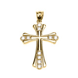 Yellow Gold Elegant Diamond Cross Pendant Necklace