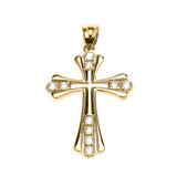 Yellow Gold Elegant Cubic Zirconia Cross Pendant Necklace