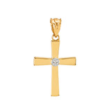 Yellow Gold Diamond-Accented Cross Pendant Necklace
