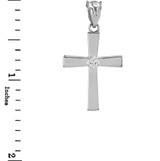 Sterling Silver Solitaire CZ-Accented Cross Pendant Necklace