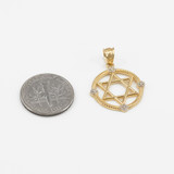 Yellow Gold Roped Circle Star of David with Diamond Pendant Necklace