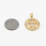 Yellow Gold Roped Circle Diamond-Accented Hawaiian Honu Turtle Pendant Necklace