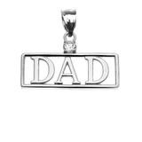 "White Gold ""DAD"" Cubic Zirconia Pendant Necklace"