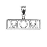 "White Gold ""MOM"" Cubic Zirconia Pendant Necklace"