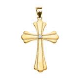 Yellow Gold Solitaire Cubic Zirconia High Polish Milgrain Cross Pendant Necklace (Medium)
