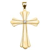 Yellow Gold Solitaire Cubic Zirconia High Polish Milgrain Cross Pendant Necklace (Large)