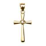 Yellow Gold Solitaire Cubic Zirconia Heart  Cross Pendant Necklace