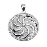 White Gold Shield Armenian Eternity Cubic Zirconia Pendant Necklace