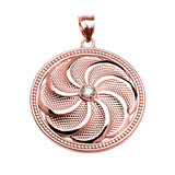 Rose Gold Shield Armenian Eternity Cubic Zirconia Pendant Necklace