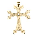 Yellow Gold Elegant Armenian Cross with Eternity Diamond Pendant Necklace (Large)