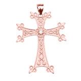 Rose Gold Elegant Armenian Cross with Eternity Diamond Pendant Necklace (Large)