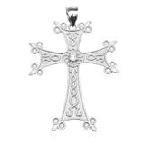 White Gold Elegant Armenian Cross with Eternity Cubic Zirconia  Pendant Necklace (Large)