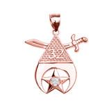Rose Gold Shriners Freemason Masonic Diamond Pendant Necklace