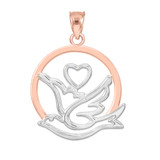 Two-Tone Rose Gold Love Dove with Heart Pendant Necklace