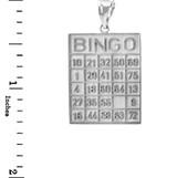 White Gold Bingo Card Square Tile Pendant Necklace