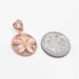 Rose Gold Roped Circle Hawaiian Plumeria Flower Charm Pendant Necklace