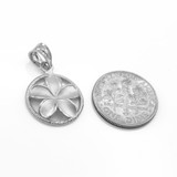 Silver Roped Circle Hawaiian Plumeria Flower Charm Pendant Necklace