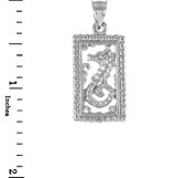 White Gold Rectangular Beaded Frame Seahorse Pendant Necklace