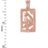 Rose Gold Shark Beaded Frame Pendant Necklace