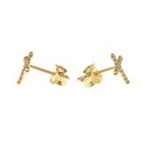 Yellow Gold Elegant Cross Diamond Stud Earrings