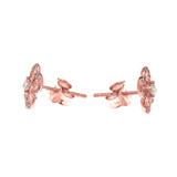 Rose Gold Elegant 4 Leaf Clover Diamond Stud Earrings