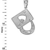 White Gold Lucky Ace Card Horseshoe Pendant Necklace