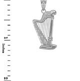 White Gold Harp Pendant Necklace