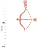 Polished Rose Gold Bow and Arrow Pendant Necklace