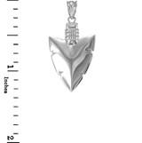 Polished White Gold Arrowhead Pendant Necklace