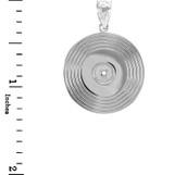 White Gold Vinyl Disc Music Recoring Pendant Necklace