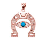 Rose Gold Evil Eye Protection Horse Shoe Good luck Pedant Necklace