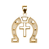 Yellow Gold Religious Cross Horse Shoe Good luck Pedant Necklace