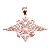 Rose Gold Double-headed Imperial Eagle Russian Coat of Arms Pendant Necklace