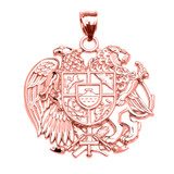 Rose Gold Armenian National Coat of Arms Eagle and Lion Pendant Necklace