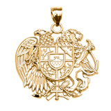 Yellow Gold Armenian National Coat of Arms Eagle and Lion Pendant Necklace