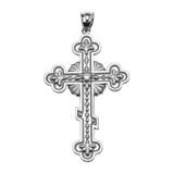 Sterling Silver Elegant Eastern Orthodox Diamond Cross Pendant Necklace